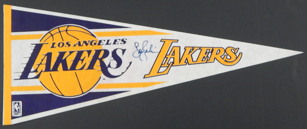 Vintage Los Angeles Lakers Team Pennant Signed by unknown
